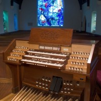 Union Church of Pocantico Hills (Right) showing organ console and window of Marc Chagall